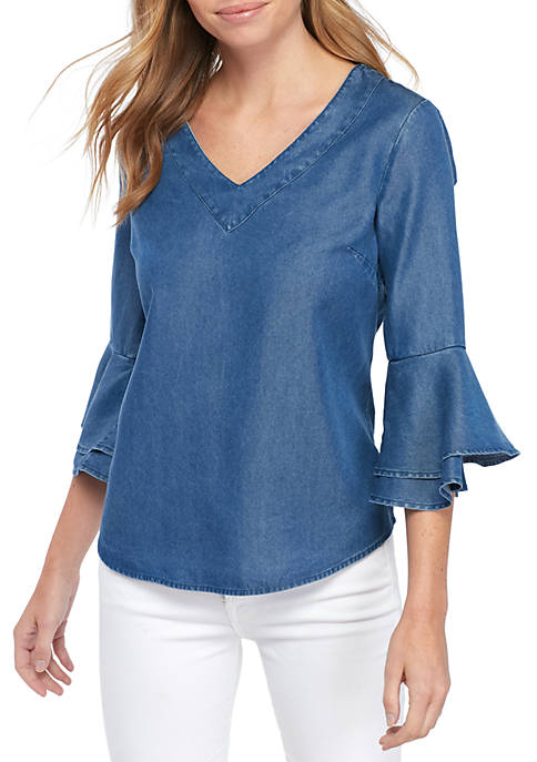 Petite Size Solid Bell Sleeves Shirt