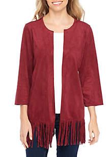 Petite 3/4 Sleeve Suede Jacket
