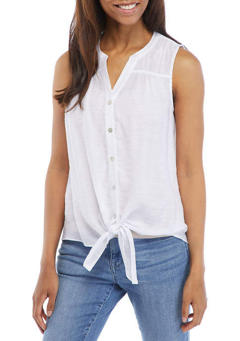 New Directions® Petite Sleeveless Tie Front Button Down