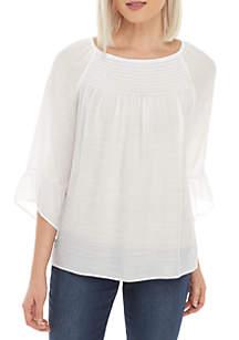 New Directions® Petite 3/4 Sleeve Essential Slub Top