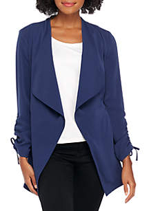 Petite Long Ruched Sleeve Twill Jacket