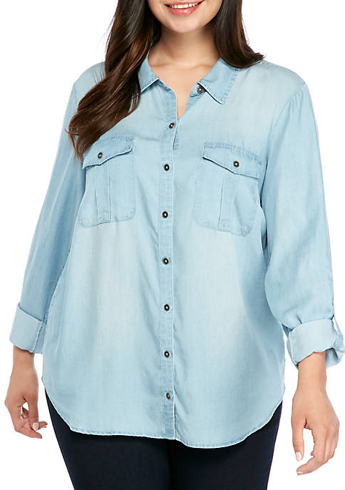 Plus Size Roll Tab Washed Camp Shirt