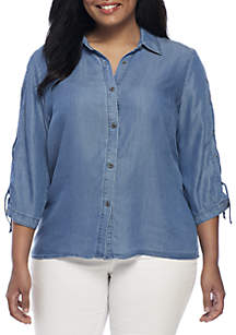 Plus Size 3/4 Lace Up Sleeve Tencel Shirt