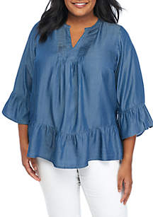 Plus Size 3/4 Bell Sleeve Tencel® Top