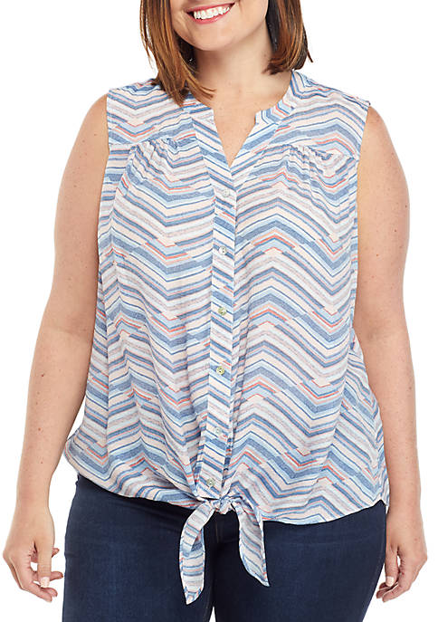 New Directions® Plus Size Sleeveless Tie Front Printed