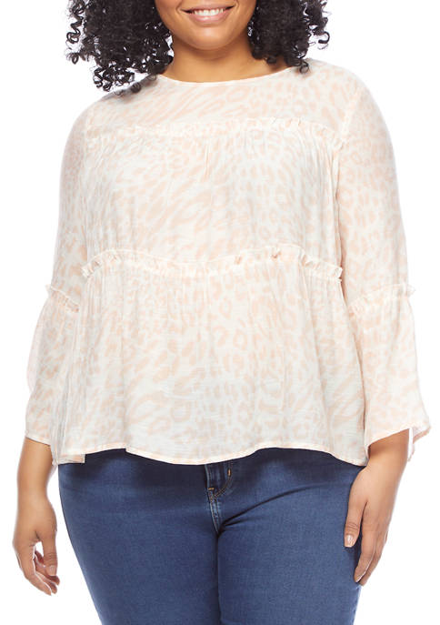 New Directions® Plus Size Tie Dye Bell Sleeve