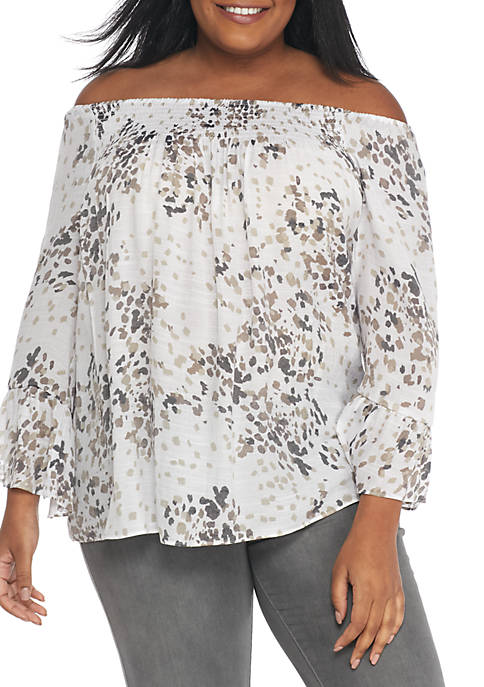 New Directions® Plus Printed Woven Smock Off-Shoulder Blouse