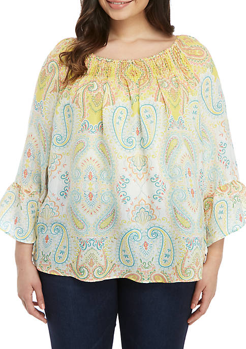 Plus Size Printed Off the Shoulder Blouse