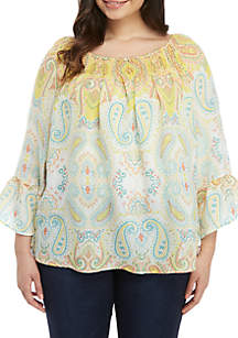 9dbd4326905 ... New Directions® Plus Size Printed Off the Shoulder Blouse