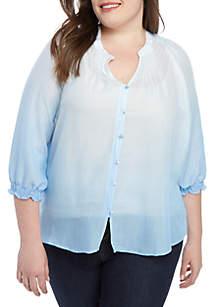 New Directions® Plus Size Ombre Linen Slub Top