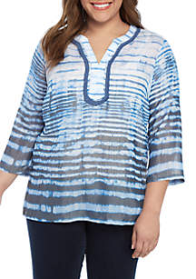 8d543a55437 ... New Directions® Plus Size 3 4 Sleeve Tie Dye With Crochet Bib Top