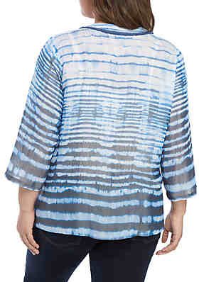 49b3d7982d9 ... New Directions® Plus Size 3 4 Sleeve Tie Dye With Crochet Bib Top