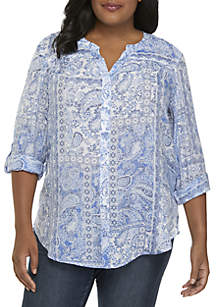Plus Size Button Front Printed Top