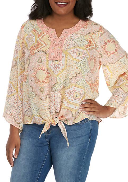 Plus Size 3/4 Sleeve Tie Front Top with Crochet Yoke