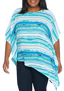 Plus Size Short Sleeve Tie Front Woven Poncho