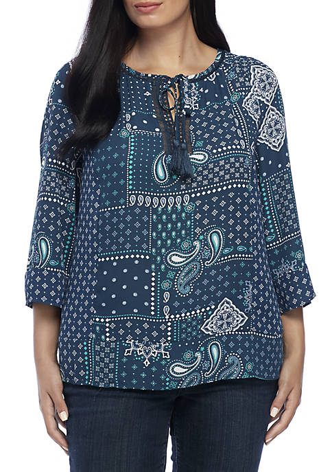 New Directions® Plus Size Three-Quarter Sleeve Mix Print