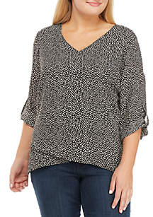 Plus Size Cross-Front Woven Top