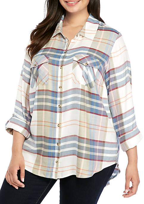 Plus Size Roll Tab Plaid Camp Shirt