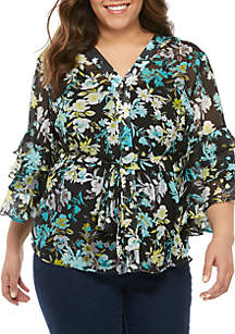New Directions® Plus Size 3/4 Triple Bell Sleeve Top