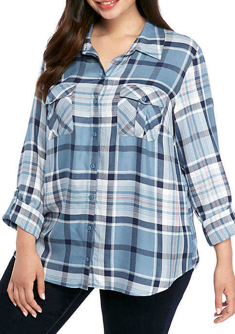 New Directions® Plus Size Roll Tab Plaid Camp