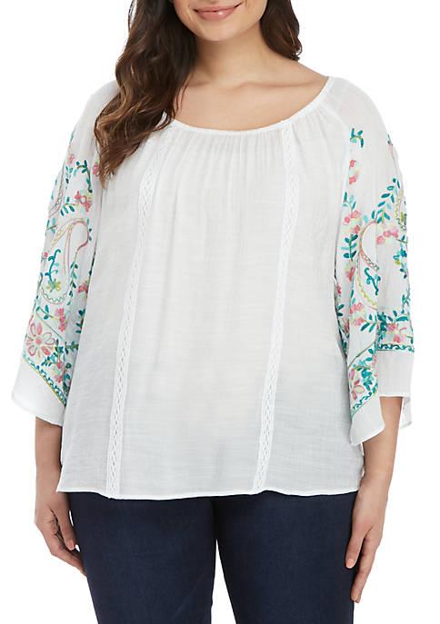 Plus Size 3/4 Sleeve Floral Print Top