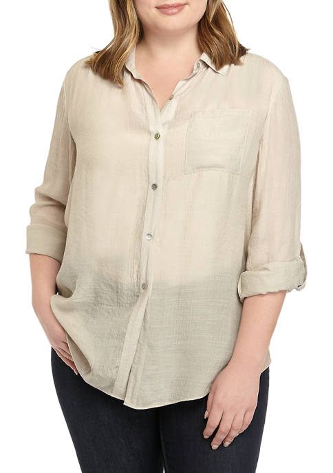 New Directions® Plus Size 3/4 Sleeve Front Tie