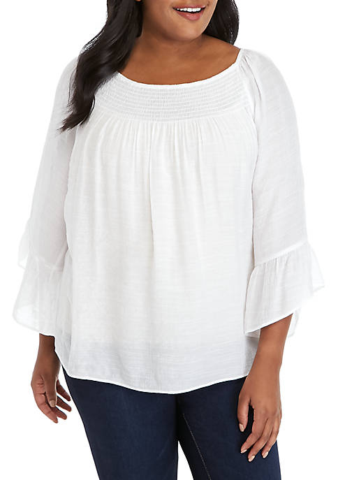 New Directions® Plus Size 3/4 Sleeve Solid Slub