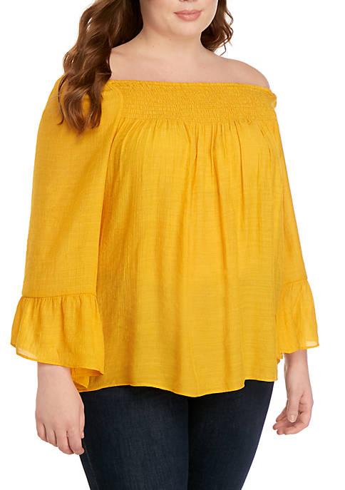 New Directions® Plus Size 3/4 Sleeve Solid Slub