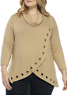 Plus Size Long Sleeve Cowl Neck Hacci Top With Grommets