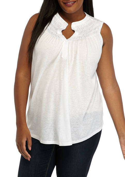 New Directions® Plus Size Sleeveless Smocked Knit Tank
