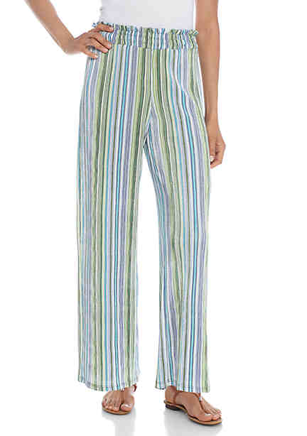 New Directions® Smocked Waistband Striped Pants ...