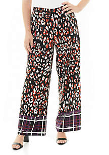 Wide Leg Border Print Pants
