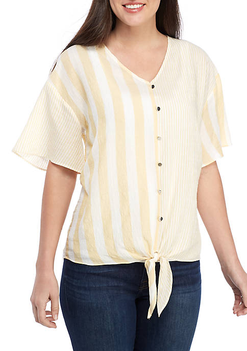 New Directions® Faux Button Mixed Stripe Top