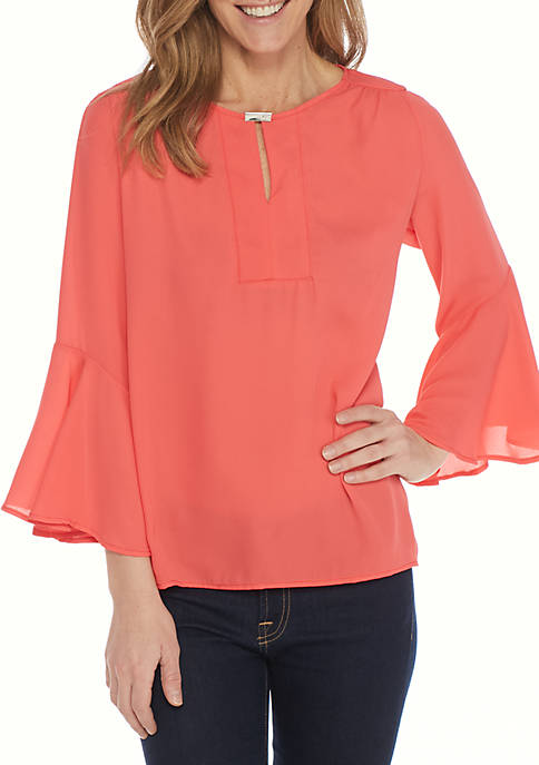 New Directions® Hardware Neck Bell Sleeve Blouse