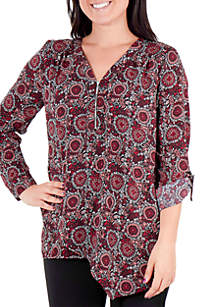 New Directions® Printed Zipper Tunic Top