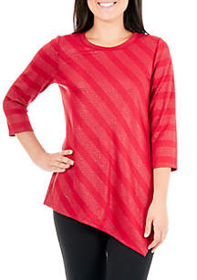 New Directions® 3/4 Sleeve Asymmetrical Hem Top with Stone Stripes