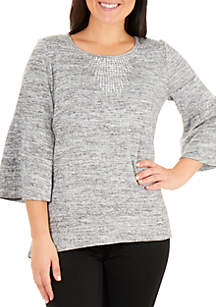 Hacci Knit Top with Rhinestones