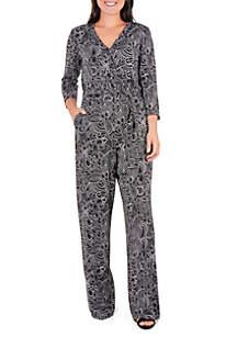 3/4 Sleeve Print Surplice Jumpsuit