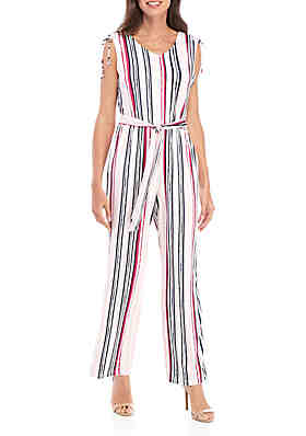 9587f37dc New Directions® Sleeveless Printed Jumpsuit with Cinched Sleeve Details ...