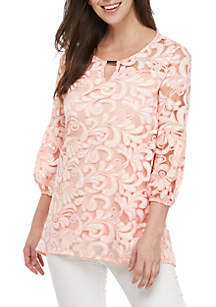 New Directions® 3/4 Sleeve Burnout Paisley Top with Hardware Neckline Trim