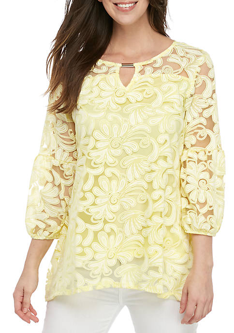New Directions® 3/4 Sleeve Burnout Paisley Top with