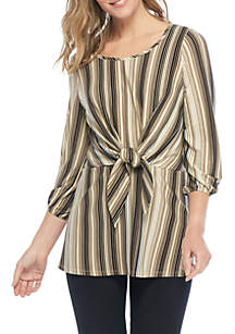 Three-Quarter Sleeve Stripe Tie Front Knit Top