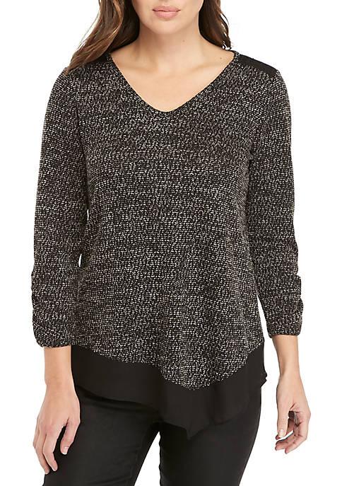 Long Sleeve Knit Sweater with Chiffon Hem