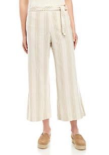 New Directions® Crop Stripe Linen Pants