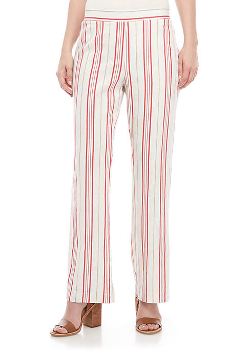 New Directions® Tie Front Linen Stripe Pants