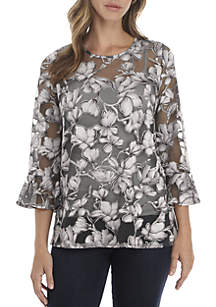 3/4 Bell Sleeve Burnout Floral Top