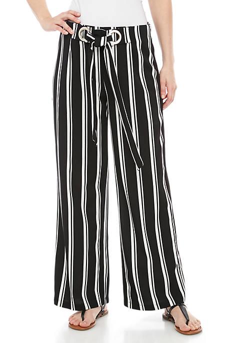 New Directions® Grommet Tie Front Stripe Culotte Pants