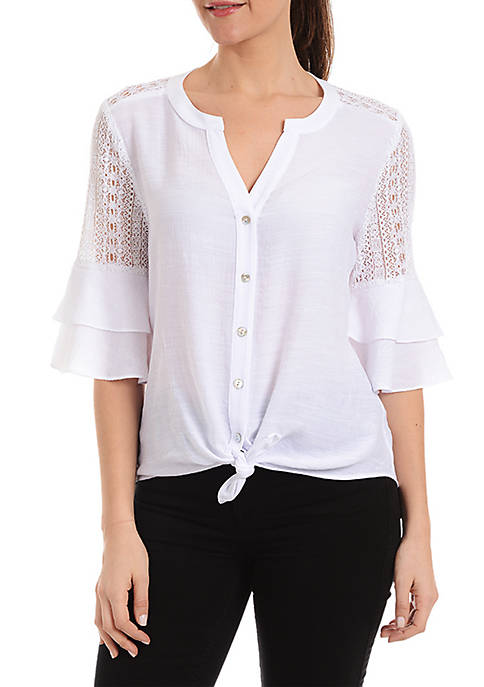 Three-Quarter Sleeve Double Bell Sleeve Tie Front Top