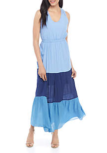 New Directions® Sleeveless Color Block Maxi Dress with Lace Shoulders