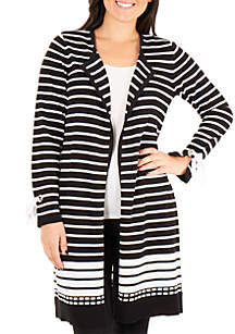 New Directions® Long Striped Cardigan